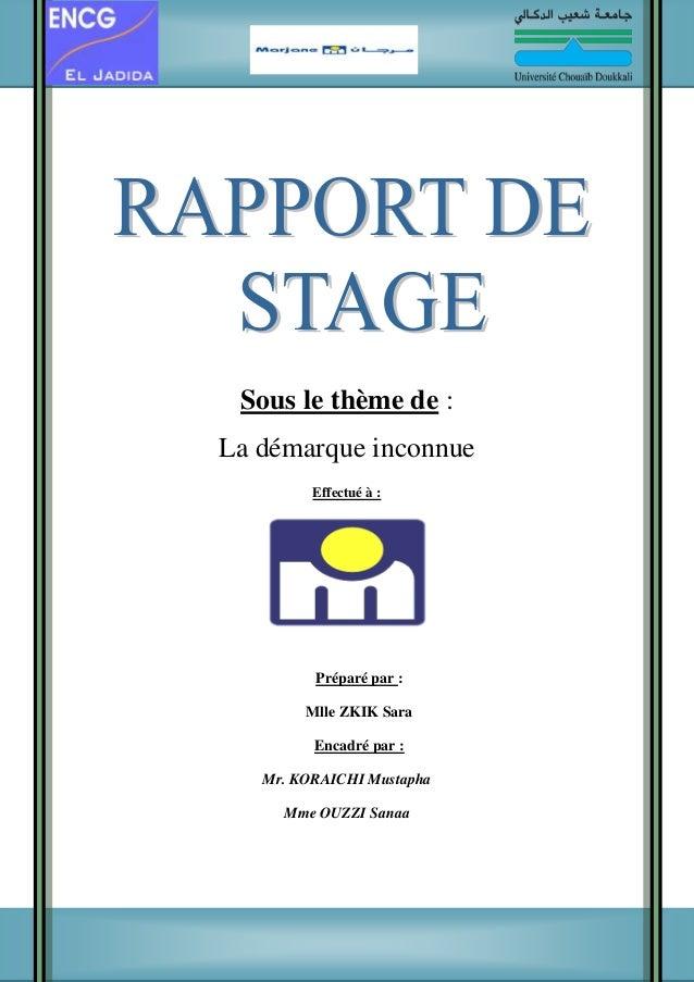 exemple de page de garde d un rapport de stage