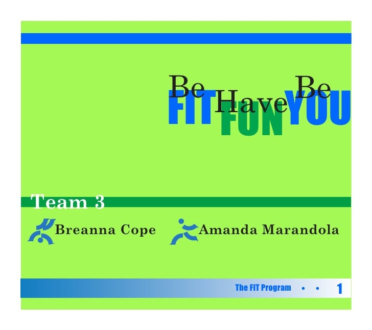 Be Have Be                 FIT FUNYOU Team 3  Breanna Cope    Amanda Marandola                         The FIT Program   1