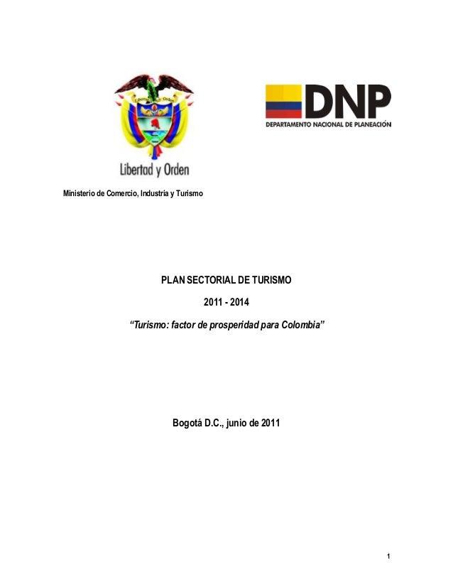Ministerio de Comercio, Industria y Turismo                              PLAN SECTORIAL DE TURISMO                        ...
