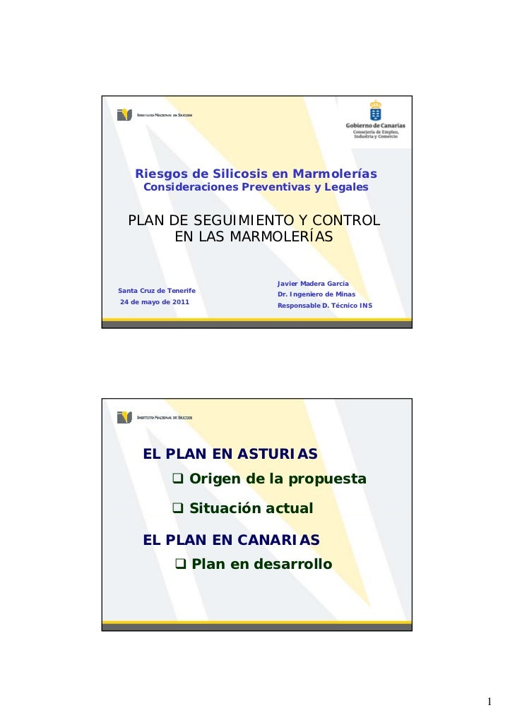 Riesgos de Silicosis en Marmolerías       Consideraciones Preventivas y Legales  PLAN DE SEGUIMIENTO Y CONTROL        EN L...