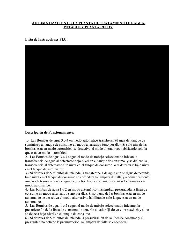 AUTOMATIZACIÓN DE LA PLANTA DE TRATAMIENTO DE AGUA                 POTABLE Y PLANTA REFOXLista de Instrucciones PLC:Instru...