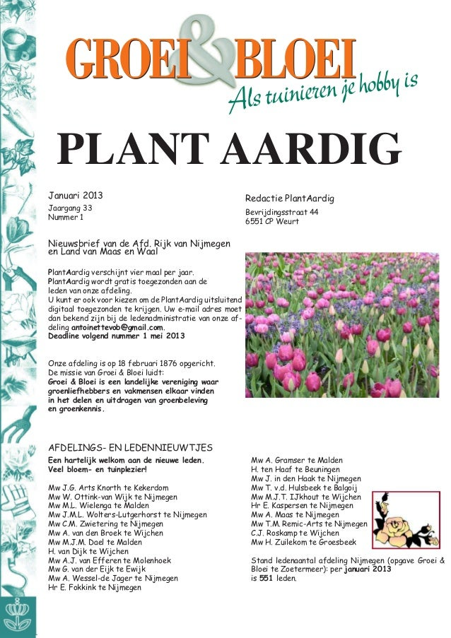 PLANT AARDIGJanuari 2013                                              Redactie PlantAardigJaargang 33                     ...