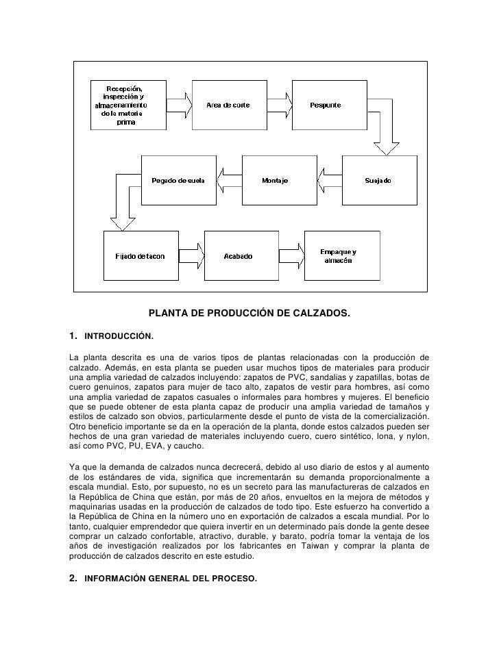 PLANTA DE PRODUCCIÓN DE CALZADOS.<br />1. INTRODUCCIÓN.<br />La planta descrita es una de varios tipos de plantas rela...