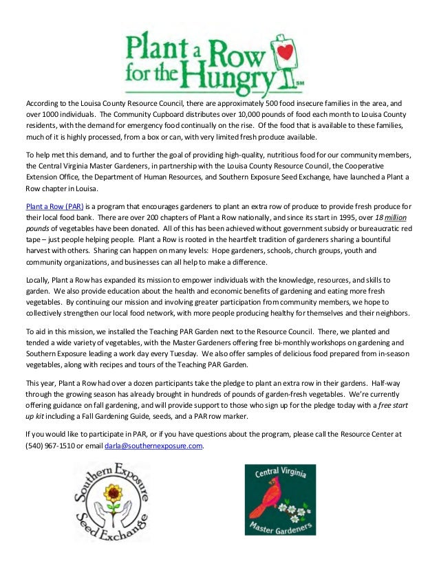 Plant a Row for the Hungry - Master Gardeners, Louisa County, Virginia