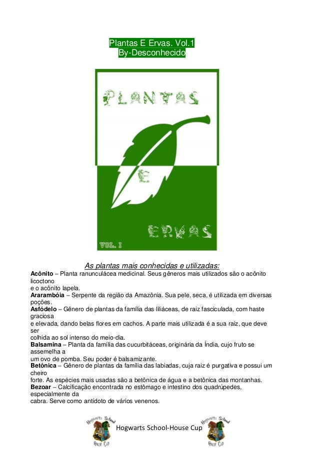 Plantas E Ervas. Vol.1                              By-Desconhecido                   As plantas mais conhecidas e utiliza...