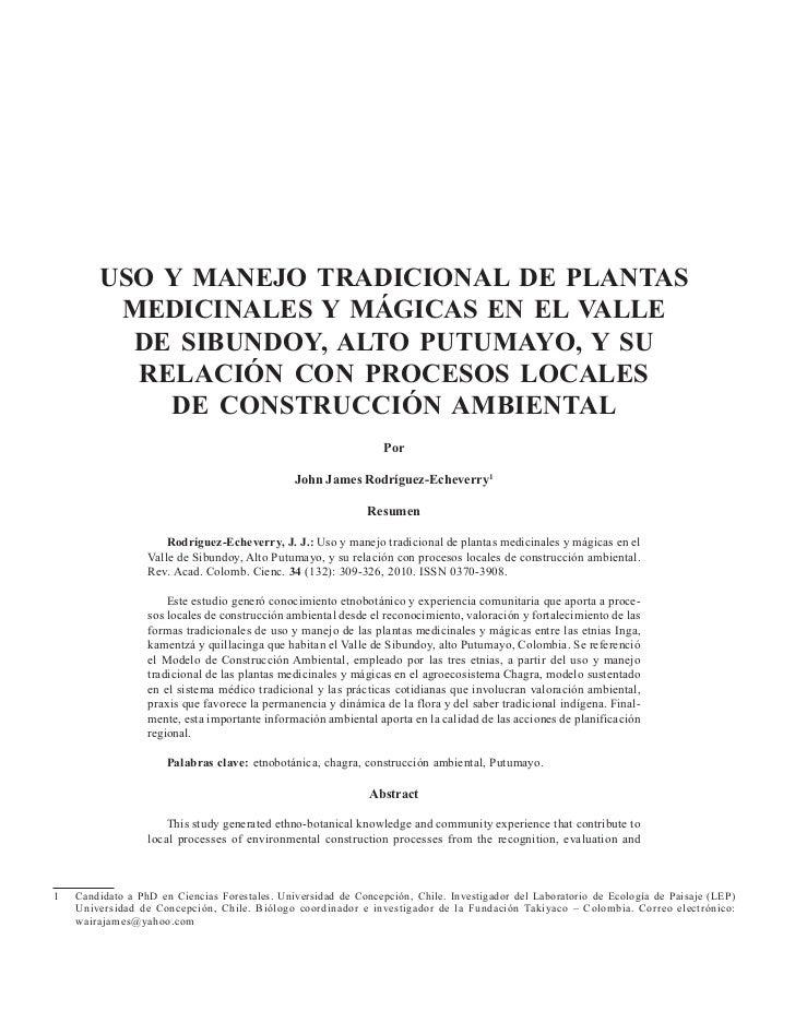 USO Y MANEJO TRADICIONAL DE PLANTAS         MEDICINALES Y MÁGICAS EN EL VALLE          DE SIBUNDOY, ALTO PUTUMAYO, Y SU   ...