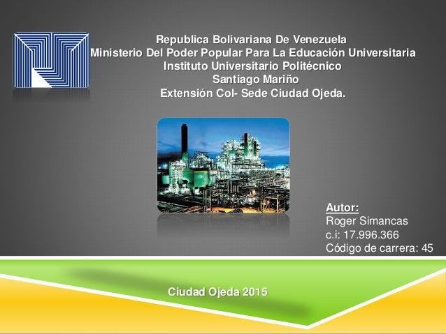 Republica Bolivariana De Venezuela Ministerio Del Poder Popular Para La Educación Universitaria Instituto Universitario Po...