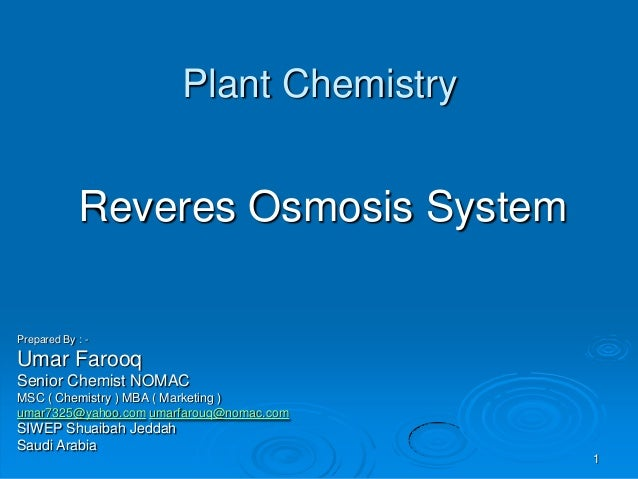 Reveres Osmosis  system
