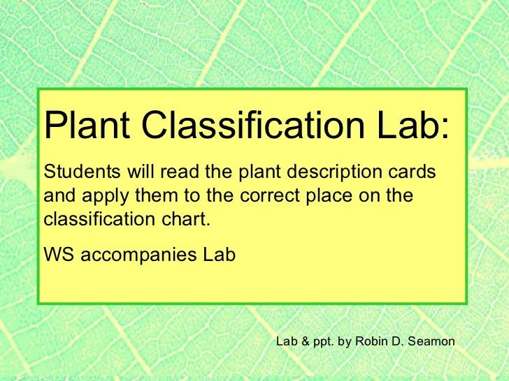 Plant Classification Lab:Students will read the plant description cardsand apply them to the correct place on theclassific...