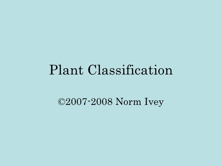 Plant Classification ©2007-2008 Norm Ivey
