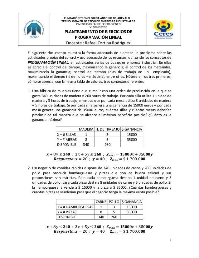 FUNDACIÓN TECNOLÓGICA ANTONIO DE ARÉVALO TECNOLOGÍA EN GESTIÓN DE EMPRESAS INDUSTRIALES INVESTIGACIÓN DE OPERACIONES V° SE...