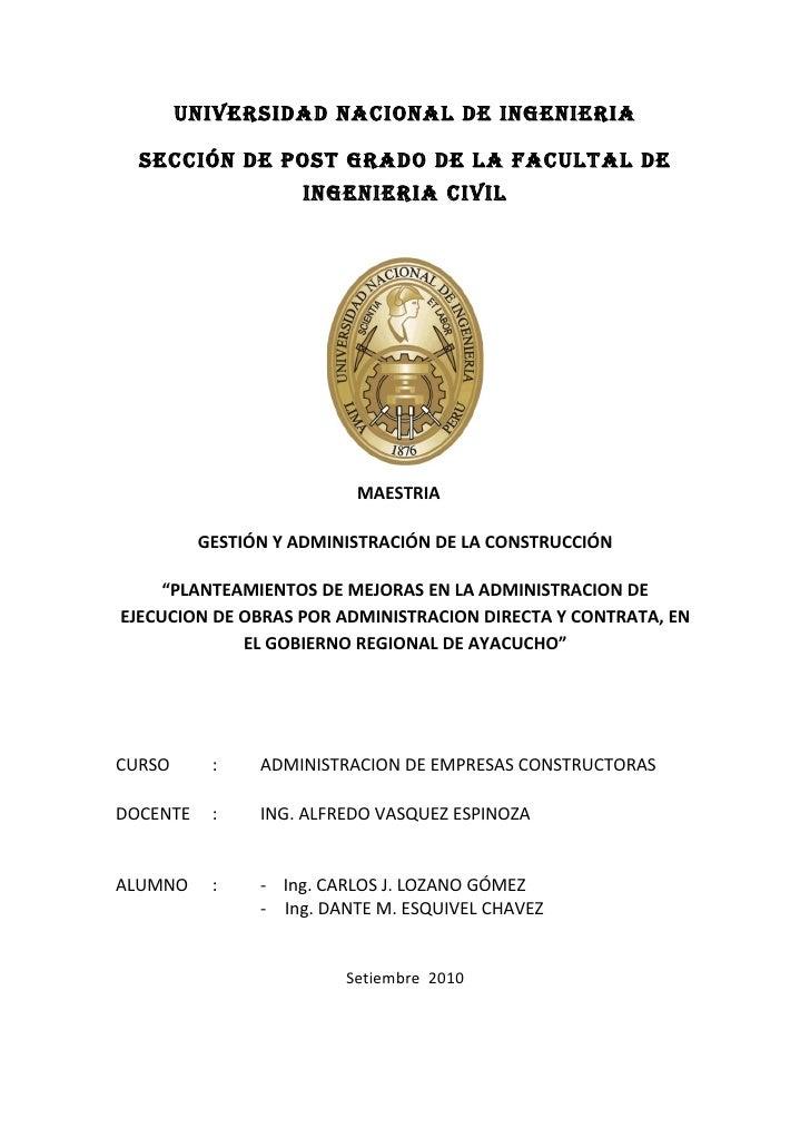 UNIVERSIDAD NACIONAL DE INGENIERIA    SECCIÓN DE POST GRADO DE LA FACULTAL DE                     INGENIERIA CIVIL        ...