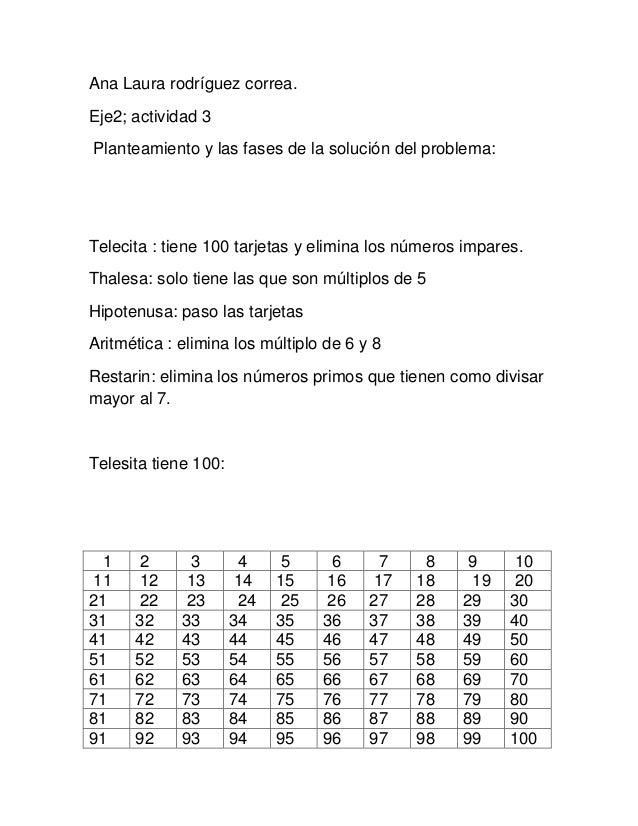 Ana Laura rodríguez correa. Eje2; actividad 3 Planteamiento y las fases de la solución del problema: Telecita : tiene 100 ...