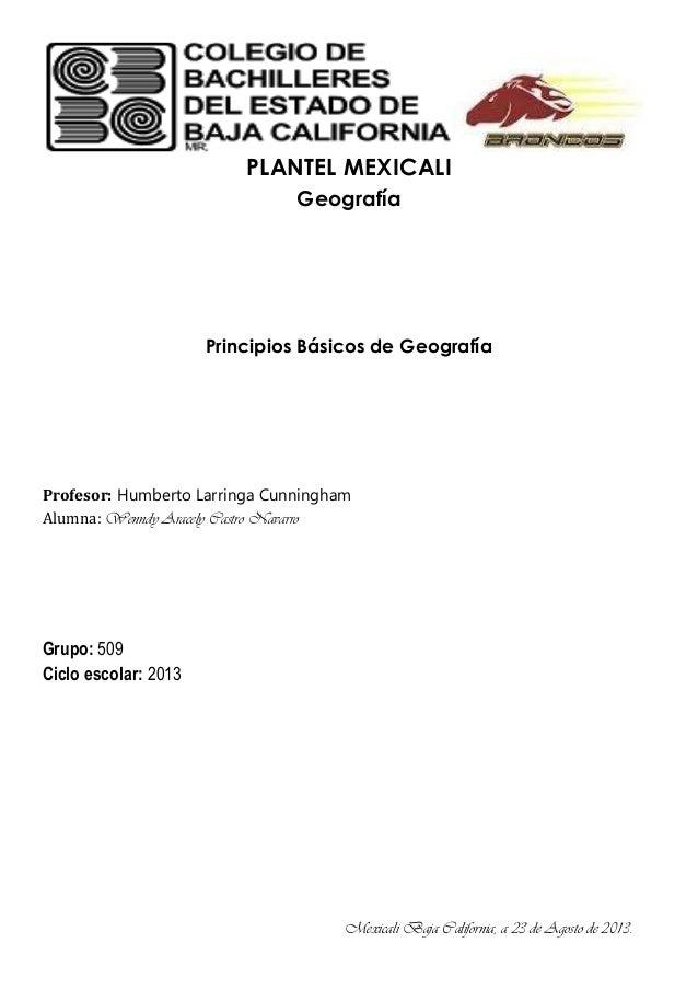 PLANTEL MEXICALI Geografía Principios Básicos de Geografía Profesor: Humberto Larringa Cunningham Alumna: Wenndy Aracely C...