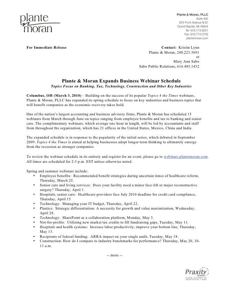 Plante & Moran Expands Business Webinar Schedule
