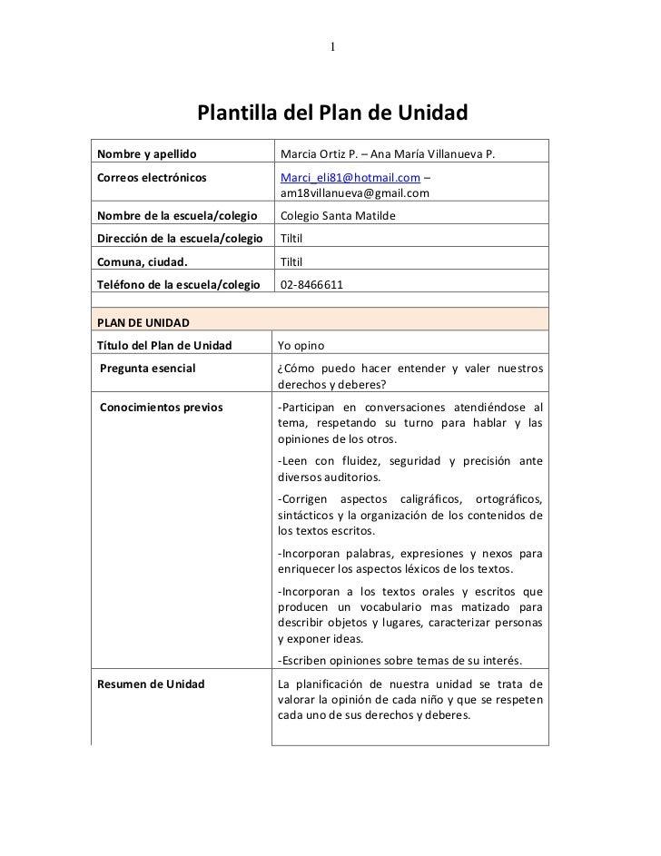 1                    Plantilla del Plan de UnidadNombre y apellido                 Marcia Ortiz P. – Ana María Villanueva ...