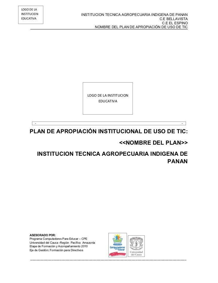 LOGO DE LAINSTITUCION                               INSTITUCION TECNICA AGROPECUARIA INDIGENA DE PANANEDUCATIVA           ...