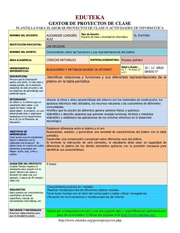 EDUTEKA<br />GESTOR DE PROYECTOS DE CLASE<br />PLANTILLA PARA ELABORAR PROYECTOS DE CLASE O ACTIVIDADES DE INFORMÁTICA<br ...