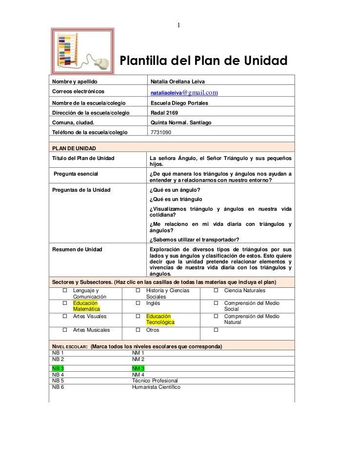 1                            Plantilla del Plan de UnidadNombre y apellido                        Natalia Orellana LeivaCo...