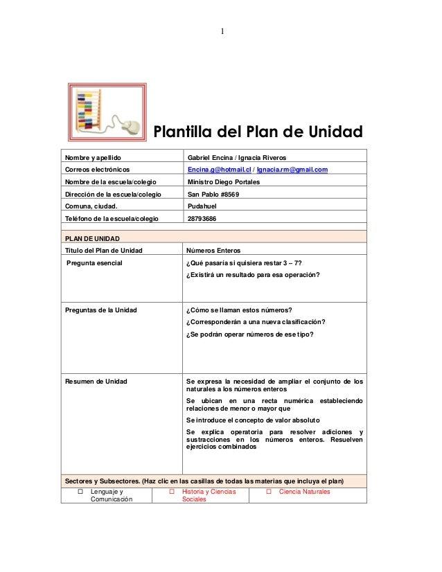 1Plantilla del Plan de UnidadNombre y apellido Gabriel Encina / Ignacia RiverosCorreos electrónicos Encina.g@hotmail.cl / ...