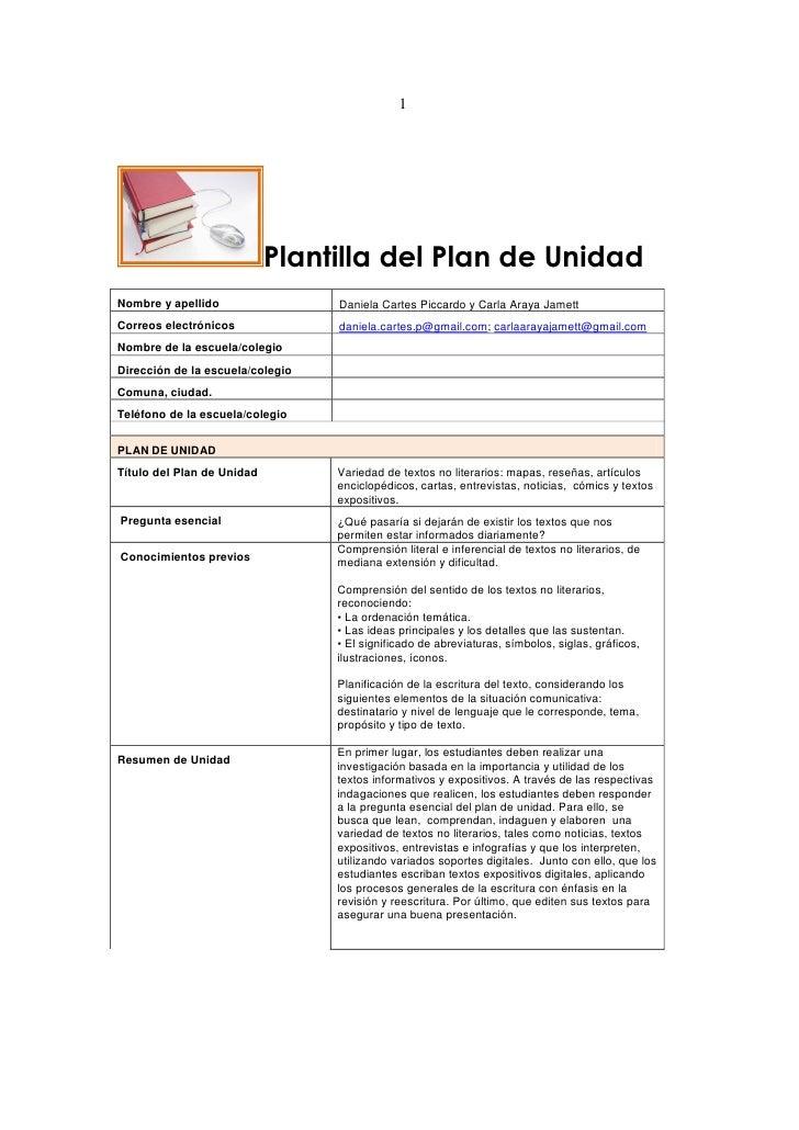 1                            Plantilla del Plan de UnidadNombre y apellido                 Daniela Cartes Piccardo y Carla...