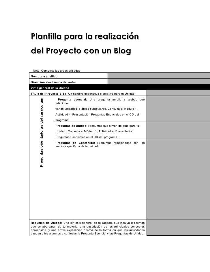 1     Plantilla para la realización del Proyecto con un Blog   Nota: Completa las áreas grisadas Nombre y apellido Direcci...