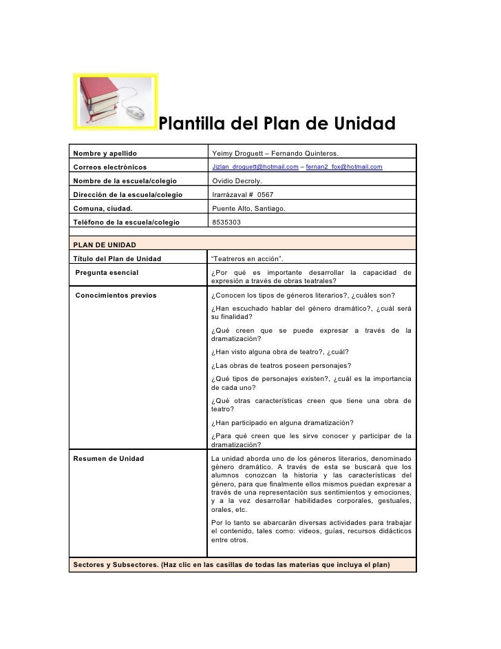 Plantilla del Plan de UnidadNombre y apellido                       Yeimy Droguett – Fernando Quinteros.Correos electrónic...