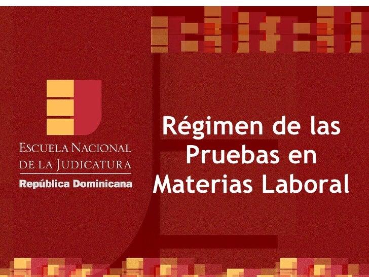 Régimen de las Pruebas en Materias Laboral