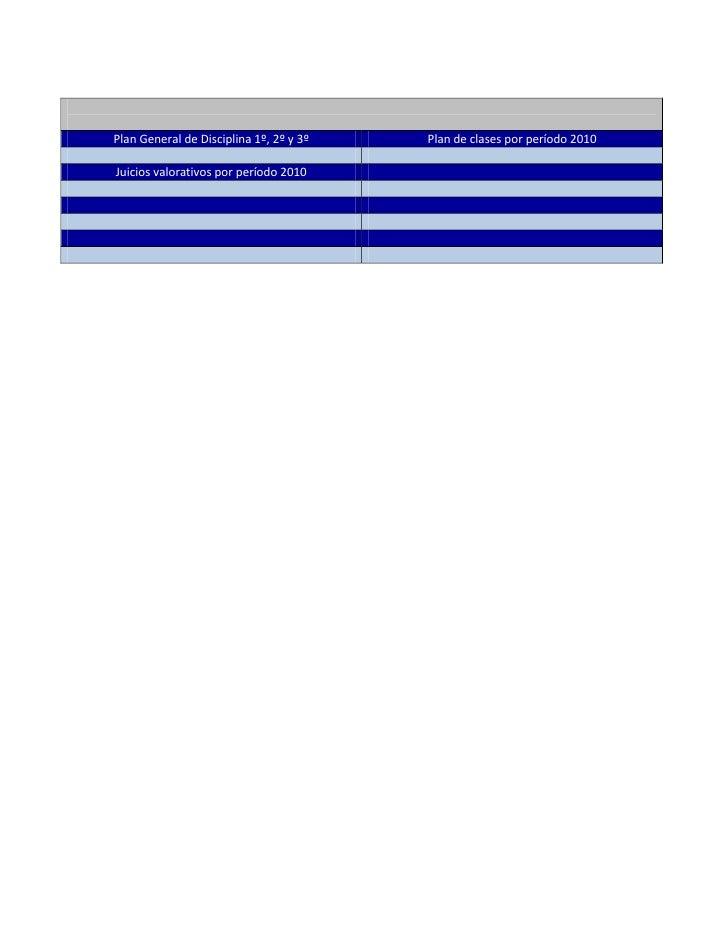 Plan General de Disciplina 1º, 2º y 3ºPlan de clases por período 2010Juicios valorativos por período 2010<br />