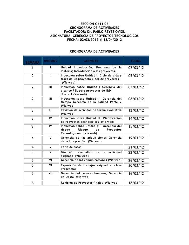 SECCION G211 CE                       CRONOGRAMA DE ACTIVIDADES                    FACILITADOR: Dr. PABLO REYES OVIOL     ...