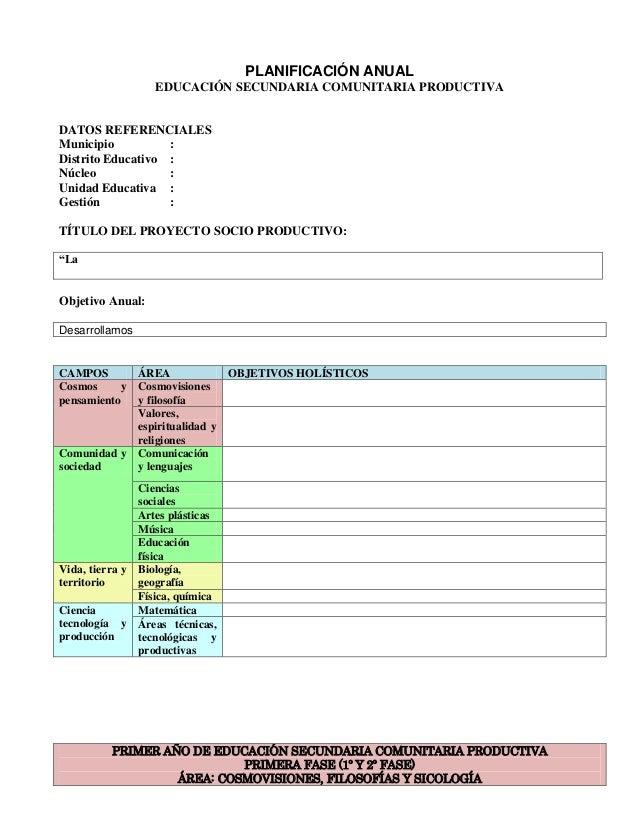 PLANIFICACIÓN ANUAL EDUCACIÓN SECUNDARIA COMUNITARIA PRODUCTIVA  DATOS REFERENCIALES Municipio : Distrito Educativo : Núcl...