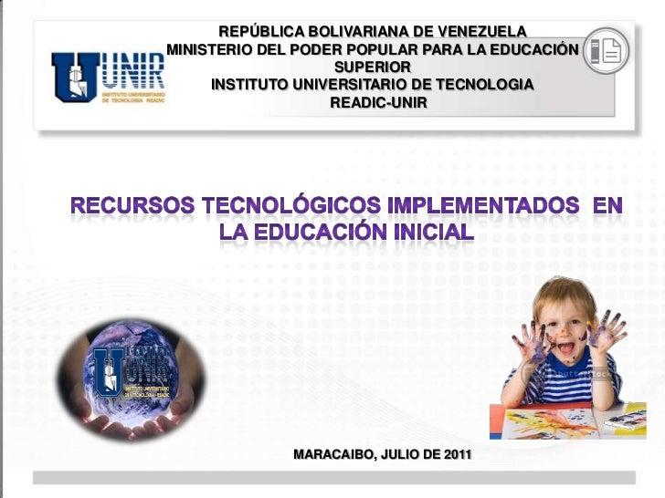 REPÚBLICA BOLIVARIANA DE VENEZUELAMINISTERIO DEL PODER POPULAR PARA LA EDUCACIÓN                    SUPERIOR     INSTITUTO...