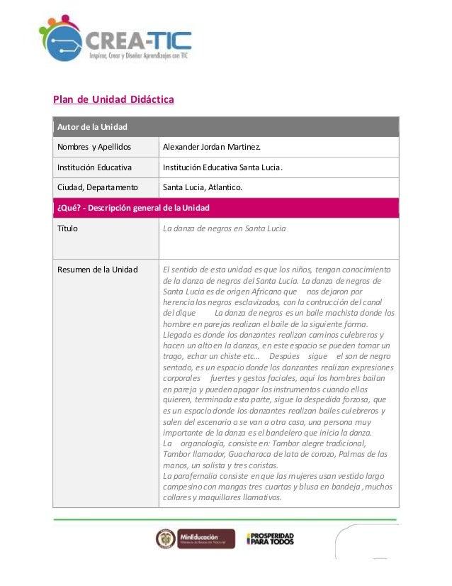 Plan de Unidad Didáctica Autor de la Unidad Nombres y Apellidos Alexander Jordan Martinez. Institución Educativa Instituci...