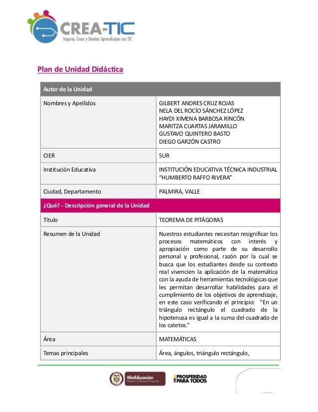 Plan de Unidad Didáctica Autor de la Unidad Nombres y Apellidos GILBERT ANDRES CRUZ ROJAS NELA DEL ROCÍO SÁNCHEZ LÓPEZ HAY...