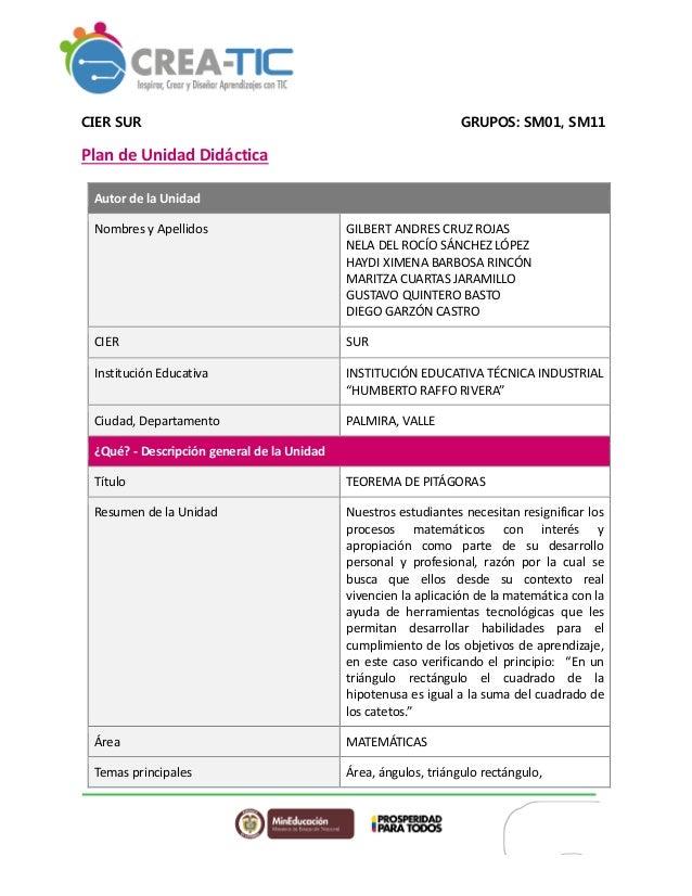 CIER SUR GRUPOS: SM01, SM11 Plan de Unidad Didáctica Autor de la Unidad Nombres y Apellidos GILBERT ANDRES CRUZ ROJAS NELA...