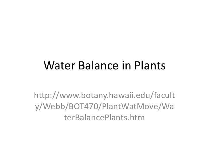 Water Balance in Plantshttp://www.botany.hawaii.edu/faculty/Webb/BOT470/PlantWatMove/Wa        terBalancePlants.htm