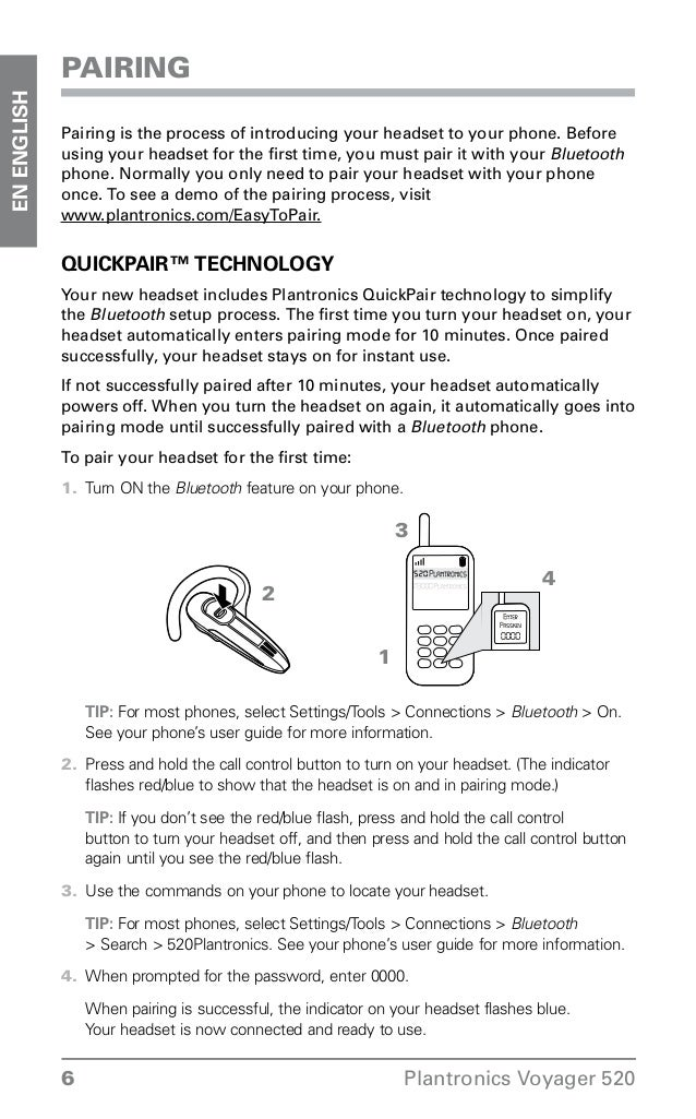 plantronics voyager 520 instructions