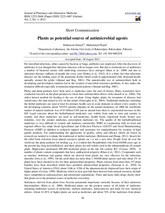 Plants as potential source of antimicrobial agents