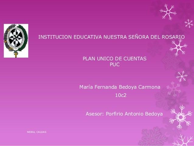 INSTITUCION EDUCATIVA NUESTRA SEÑORA DEL ROSARIO PLAN UNICO DE CUENTAS PUC María Fernanda Bedoya Carmona Asesor: Porfirio ...