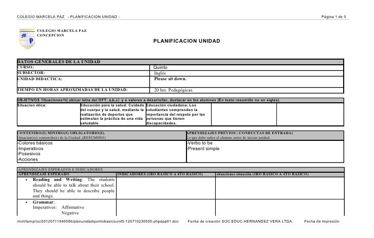 COLEGIO MARCELA PAZ - PLANIFICACION UNIDAD -                                                                              ...
