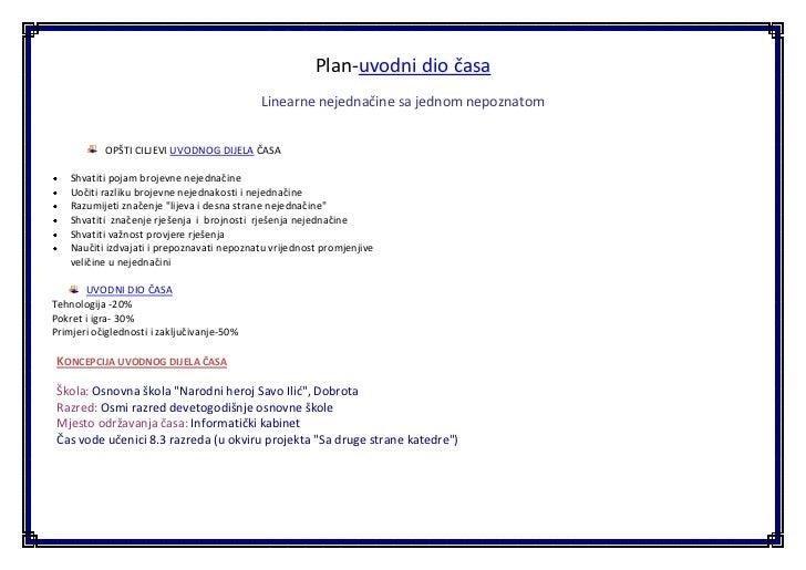 Plan uvodnog dijela