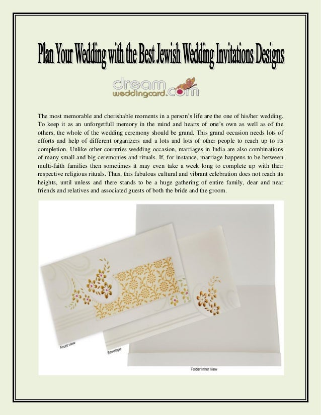 Plan your wedding with the best jewish wedding invitations ...