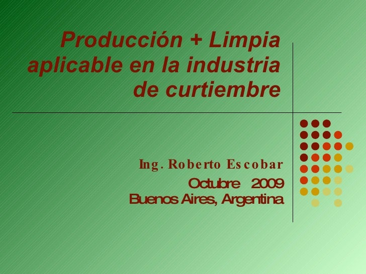 Producción + Limpia aplicable en la industria de curtiembre Ing. Roberto Escobar Octubre  2009 Buenos Aires, Argentina