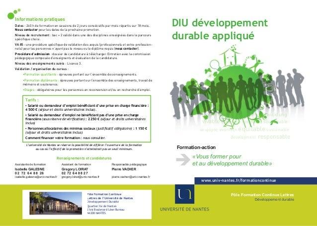 D.I.U. Développement durable appliqué parcours : Habitat social et développement durable