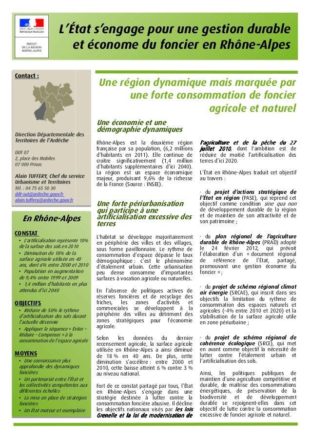 L'État s'engage pour une gestion durable                         et économe du foncier en Rhône-Alpes                     ...