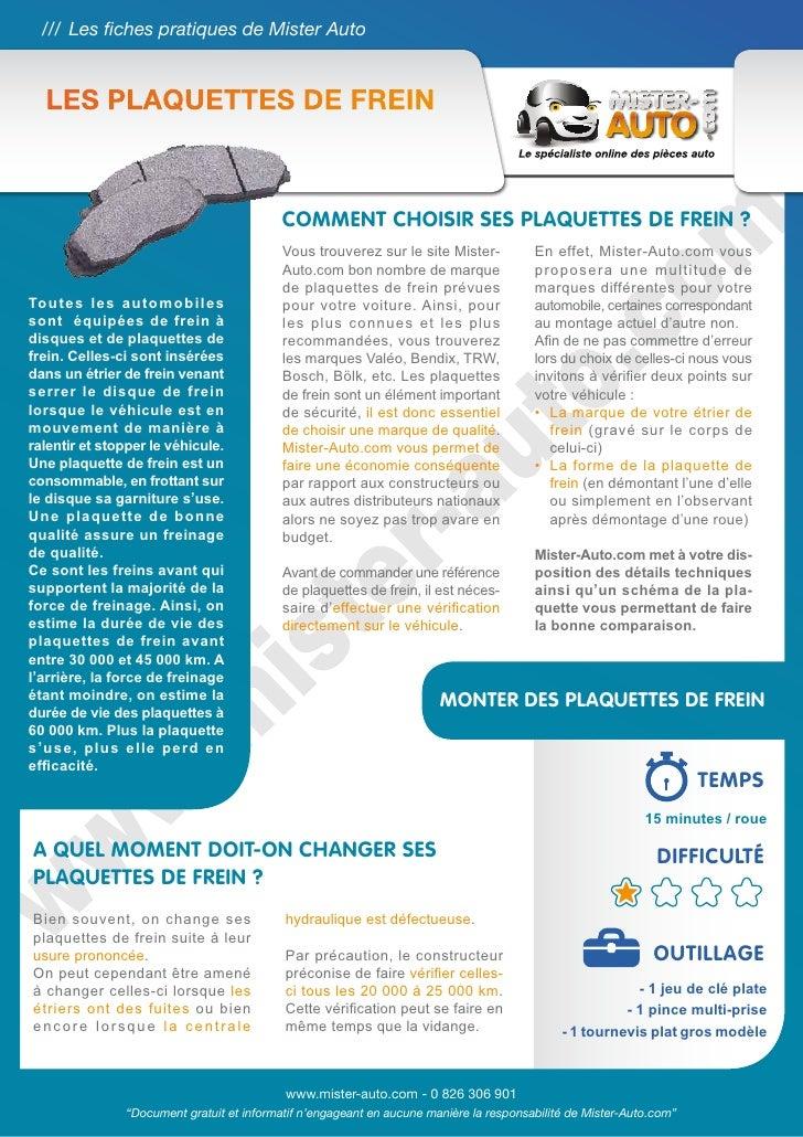 /// Les fiches pratiques de Mister Auto  Les plaquettes de frein                                           Comment choisir...