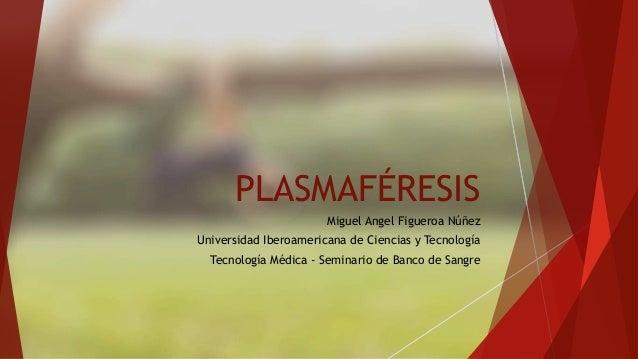 PLASMAFÉRESIS  Miguel Angel Figueroa Núñez  Universidad Iberoamericana de Ciencias y Tecnología  Tecnología Médica - Semin...