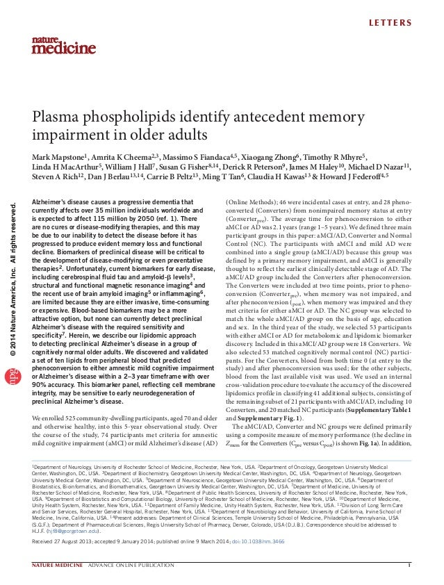 Plasma phospholipids identify antecedent memory impairment in older adults