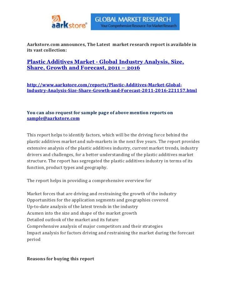 Plastic additives market   global industry analysis