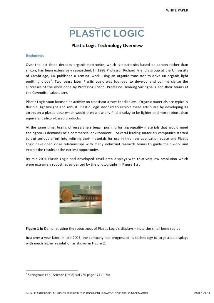 Plastic logic's transistor technology